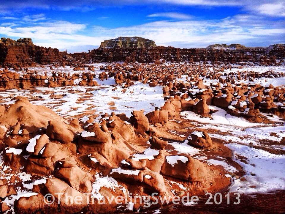 Welcome to Goblin Valley! I have never seen the goblins during the winter...way cool.