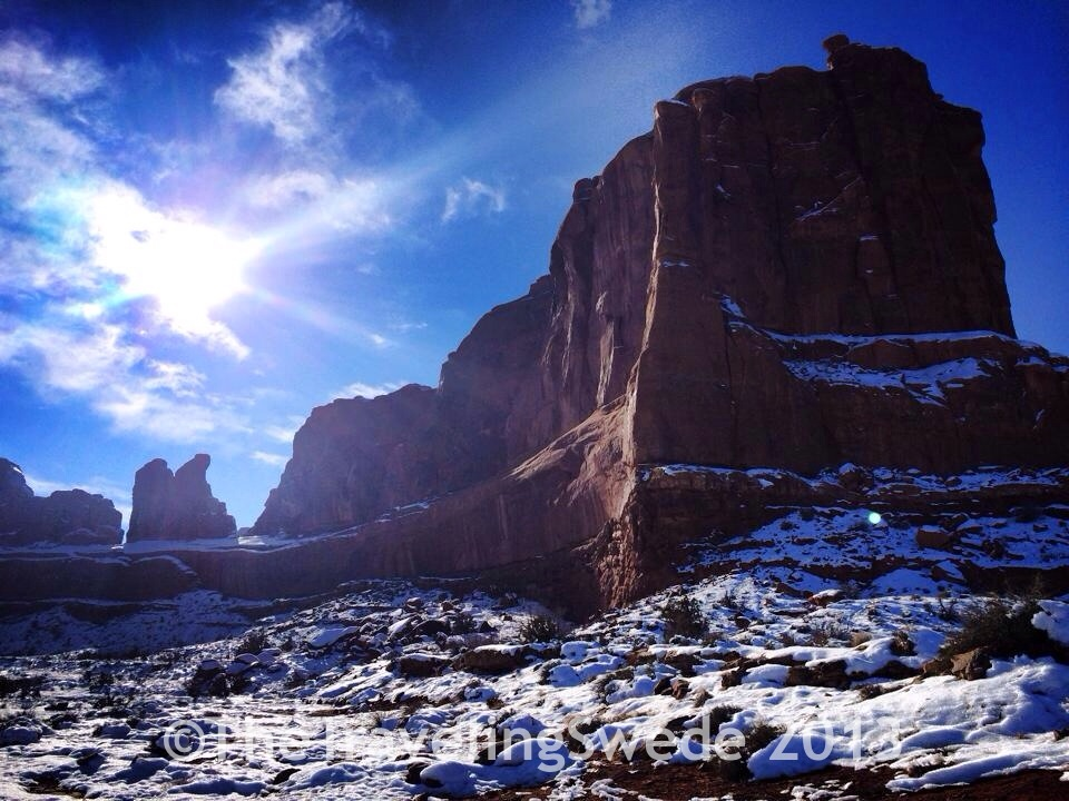 Sun, blue sky, red rock and snow. My lucky day!