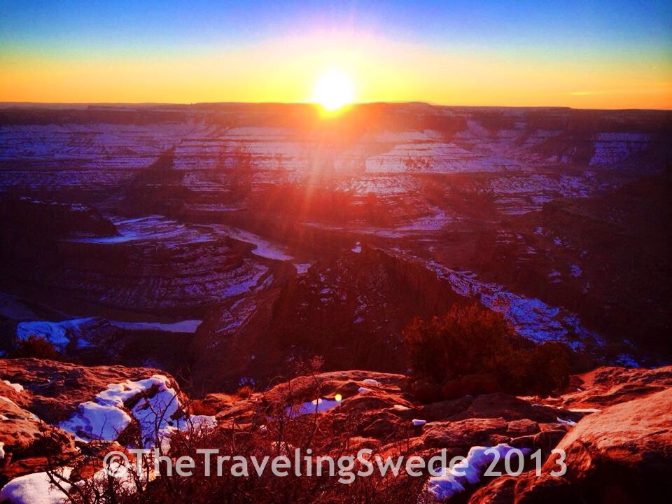 Sunset at Dead Horse Point overlook..
