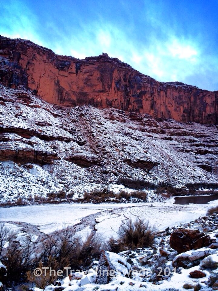 View of red rocks, snow, Colorado River along the road...life is good!