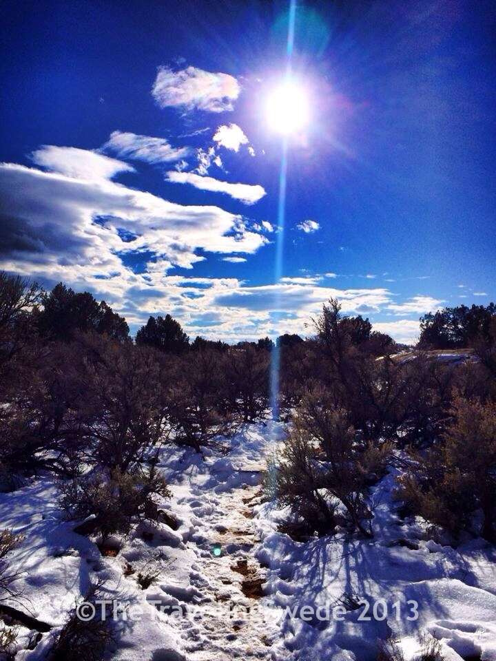 A pretty hike to and from the granary. Never seen this much snow in the desert.