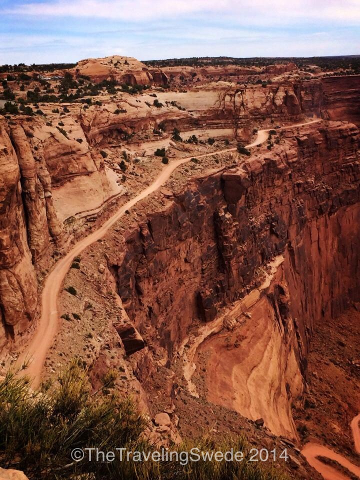 View of Shafer Trail 4x4 road. Amazing that we can drive or bike along a mountain like that.