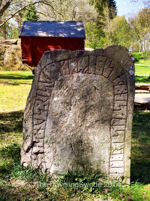 Now you are looking at something quite old. Namely a rune stone. Traditionally they date from 4th century to the 12th century but most dates back to the Viking era. There are various patterns of the etching but it is believed they were used not only as grave stones but to communicate and also to show territories. Rune stones are mostly found in Scandinavia.
