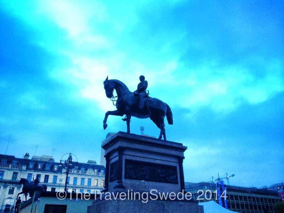 You know you are in an European capital or larger city when you see on of these. This statue is on George Square. Just a block from there is another horse statue, famous for the locals putting a traffic cone on the persons' head. Of course the evening I was there, no cone.