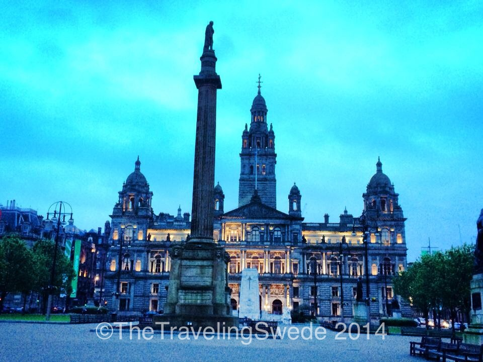 George Square. A very prominent square filled with historical landmarks, statues and more. The large building is the city chamber, finished 1888.