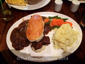 Steak, mashed potatoes and a flaky piece of bread is how this pub makes their Shepard's Pie. Delicious!