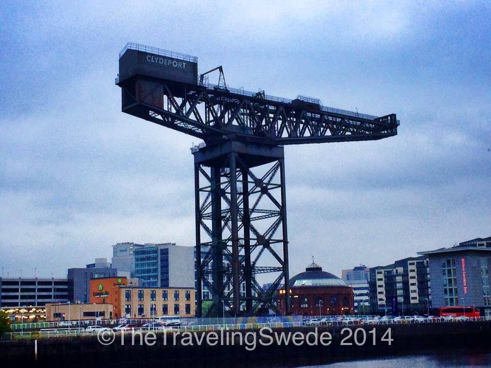 The last standing crane on river Clyde in Glasgow called Finnieston. It was kept as a symbol of the city's engineering heritage. Some call it ugly. I call it a cool piece of history that's part of Glasgow.