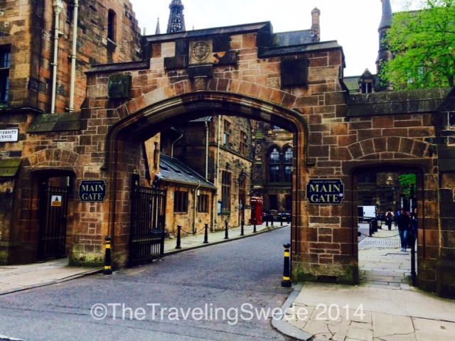 The main gate entering University of Glasgow. I just wanted to be in a horse and buggy ride and go through that gate arriving at one of many events I'm sure has taken place here. Where is that time capsule when I need it?