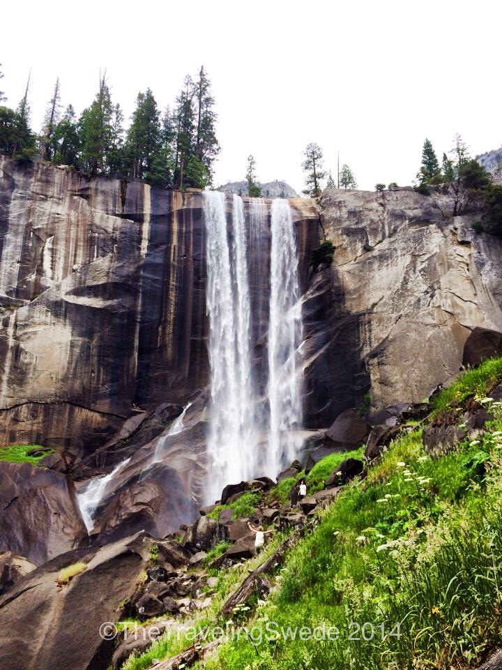 Welcome to Vernal Falls. It's quite impressive despite slow flow. You can see where the rock has blackened. That's the normal size of the fall. Wow!