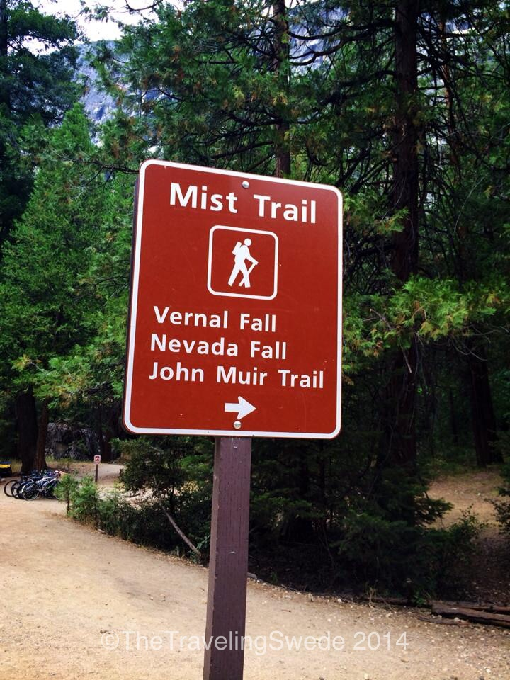 Mist Trail is called that because of the mist that covers the trail from the water falls. Sadly due to a low snow year the trail wasn't misty at all this year.
